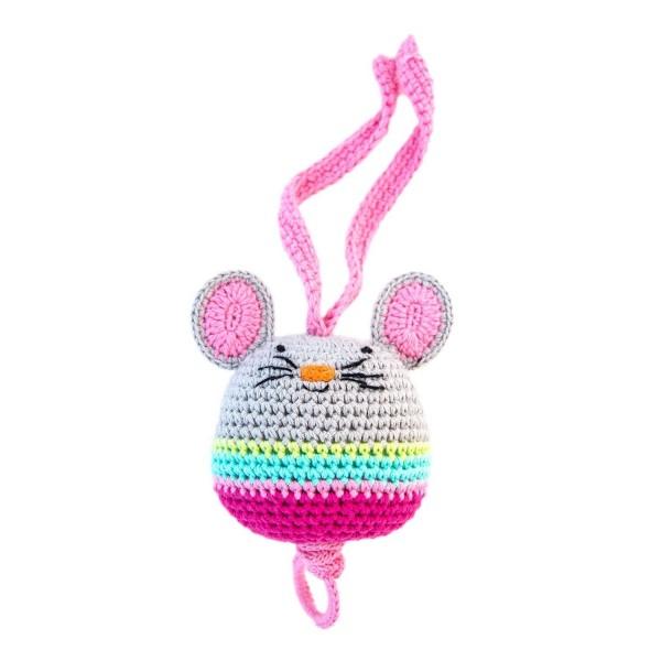 Spieluhr Maus pink gehäkelt