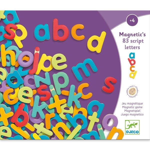 DJECO Holz Magnete: 83 Kleinbuchstaben