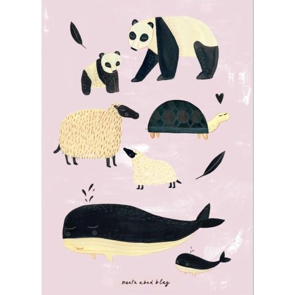 Poster schwarz-weiße Tiere rosa