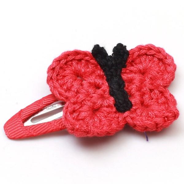 Haarspange mit Schmetterling - Rot/Schwarz