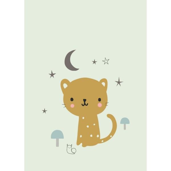 Postkarte Leopard mint