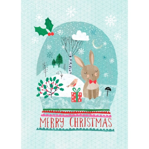 Postkarte Merry X-mas Hase