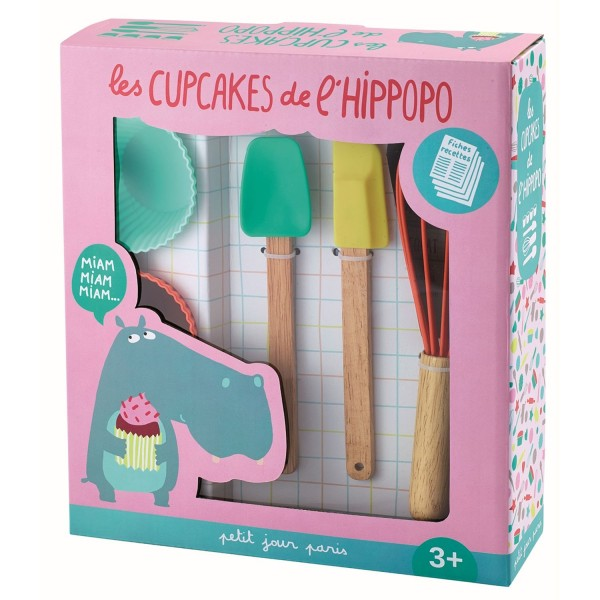 7-teiliges Cupcake Set Hippo