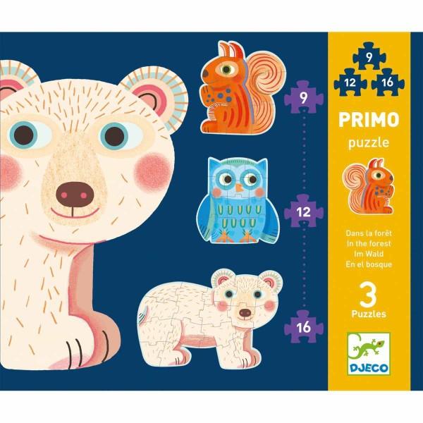 DJECO Kombi Puzzle: Im Wald - 9, 12, 16 Teile