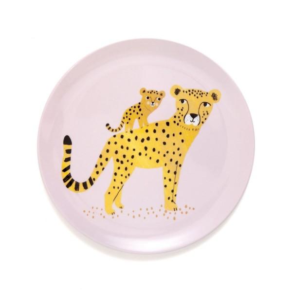 Melamin Teller Leopard rosa flach