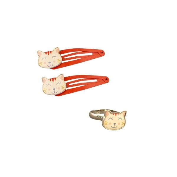 Haarclips & Ring Katze