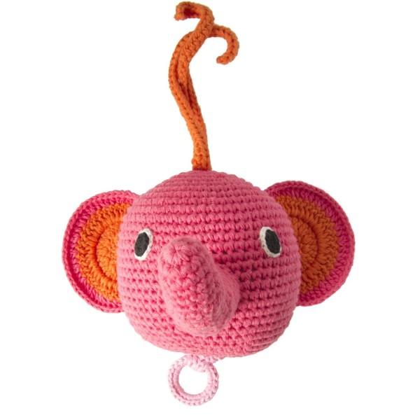 Spieluhr Elefant rosa gehäkelt
