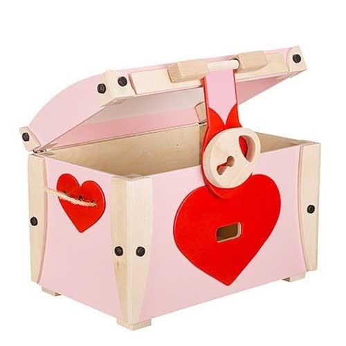 Spielzeugtruhe klein rosa mit Herz