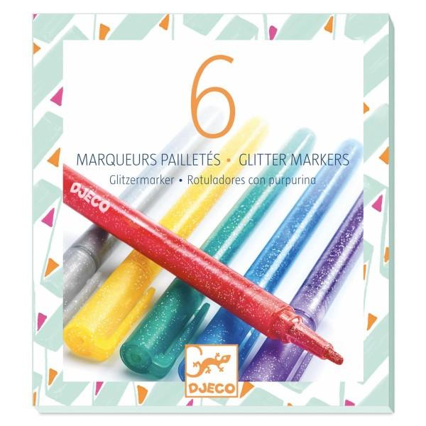 DJECO Farben: 6 Glitzer Marker