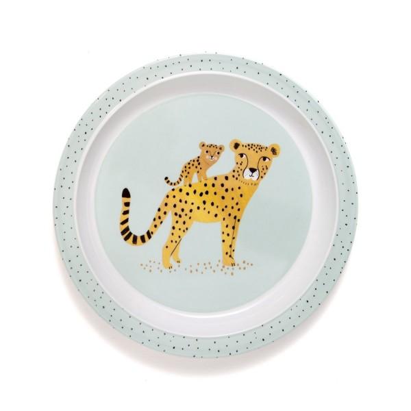 """Melamin Teller """"Leopard"""" blau"""