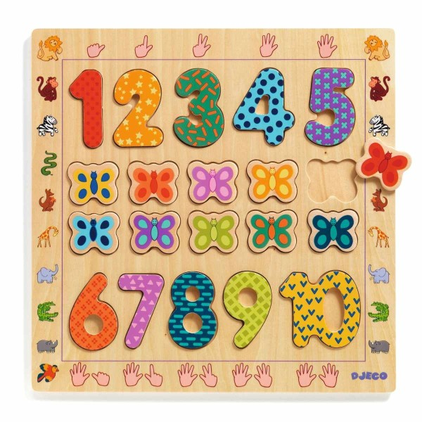 Holzpuzzle - Zahlen 1 - 10
