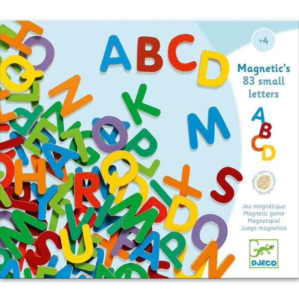 Holz Magnete: 83 kleine Buchstaben