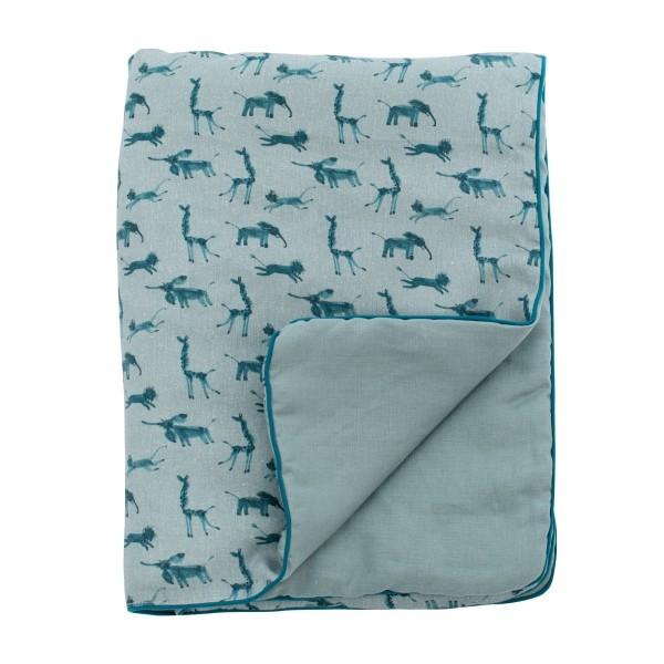 Baby-Decke blau Leinen