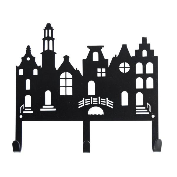 Garderobe Häuserreihe schwarz