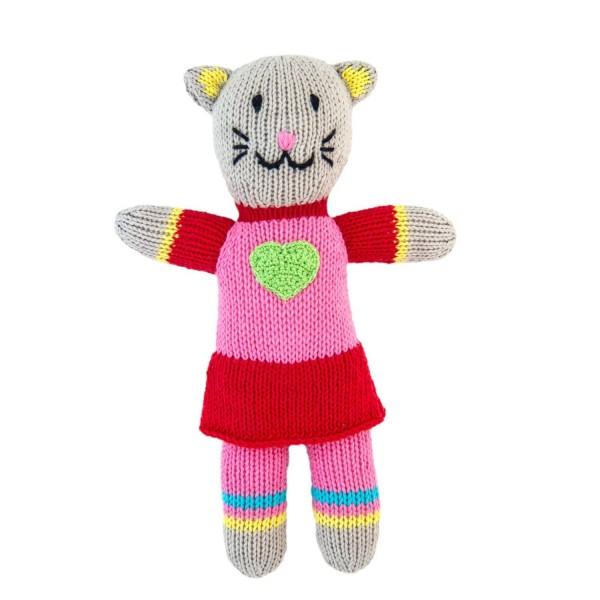 Stricktier Mini Katze rosa