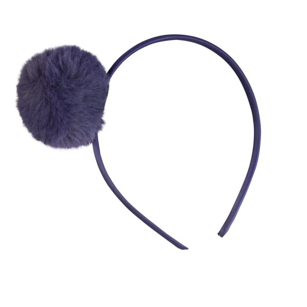 Haarreif Pompom blau