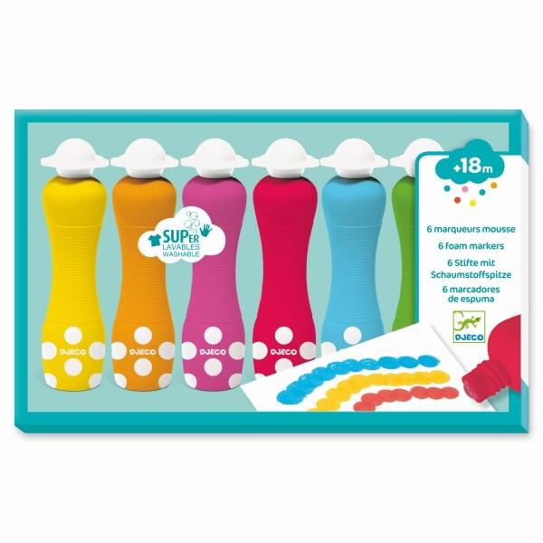 Farben: 6 Stifte mit Schaumstoffspitze