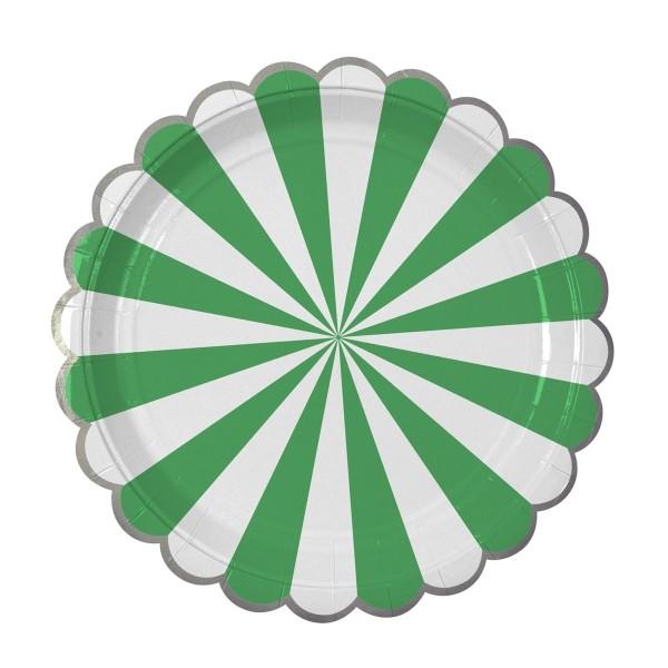 Toot Sweet Pappteller, green stripe