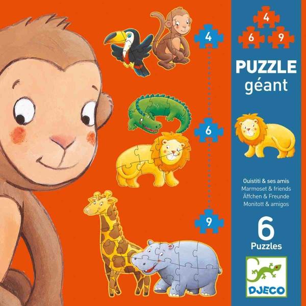 DJECO Puzzle Äffchen und Freunde - 3,6,9 Teile