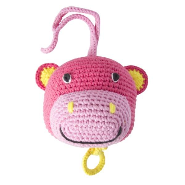 Spieluhr Nilpferd rosa gehäkelt