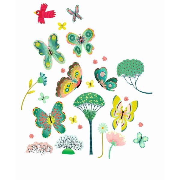 DJECO Fenstersticker Schmetterlinge im Garten