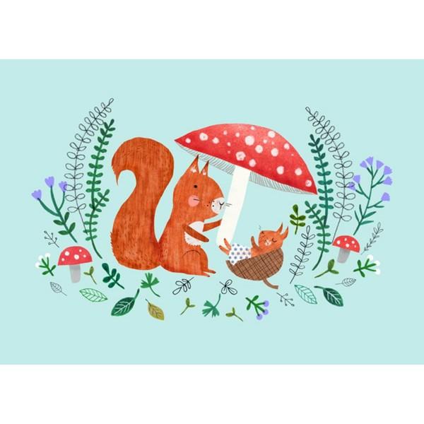 Postkarte Baby Eichhörnchen