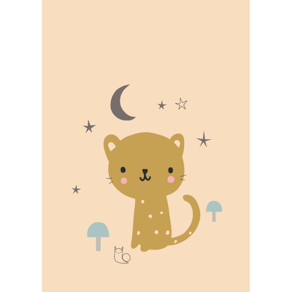 Postkarte Leopard pfirsich
