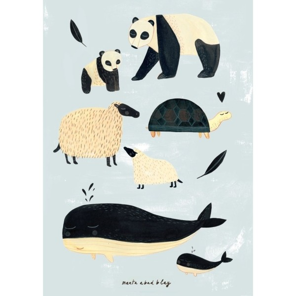 Poster schwarz-weiße Tiere grau