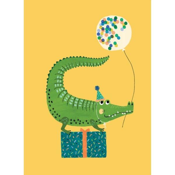 Postkarte Party Krokodil