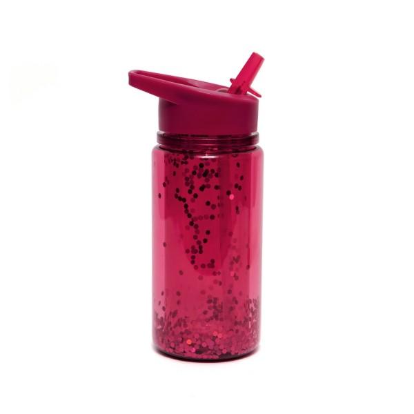 Trinkflasche mit rotem Glitter