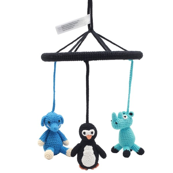 NATUREZOO DENMARK Mobile - Nashorn, Pinguin und Elefant