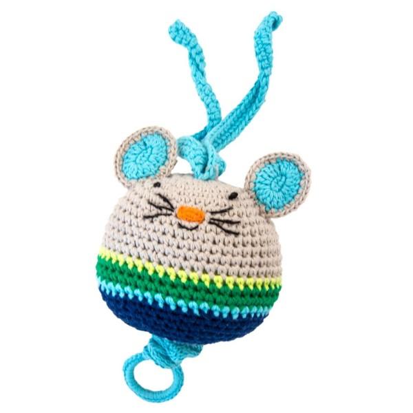 Spieluhr Maus blau gehäkelt