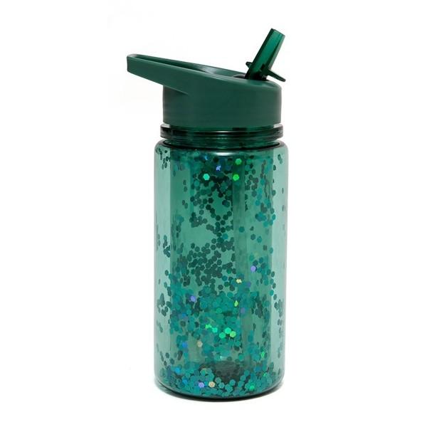 Trinkflasche mit grünem Glitter