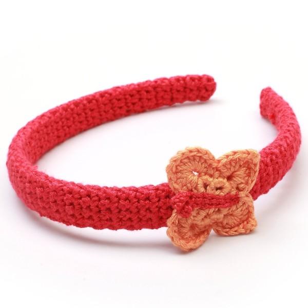 Haarreif mit Schmetterling - Rot