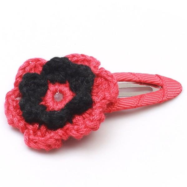 Haarspange mit Blume - Rot/Schwarz