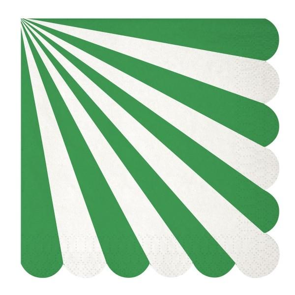 Toot Sweet green stripe Papierservietten, groß