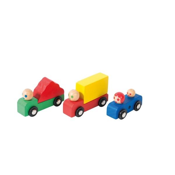 Auto und Camion aus Holz Set 3 Stück dans la ville