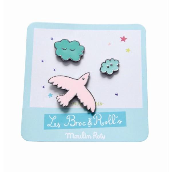 Set mit 3 Pin''s Vogel Les Broc & Rolls