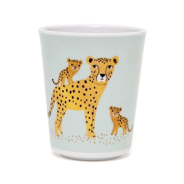 "Melamin Becher ""Leopard"" blau"