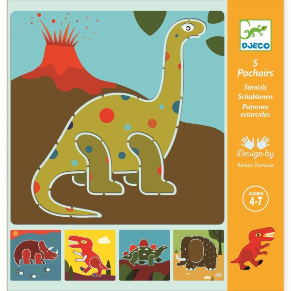 DJECO Schablonen: Dinosaurier