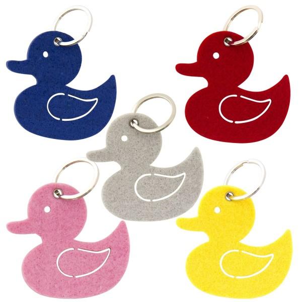 Filz Schlüsselanhänger Ente sortiert