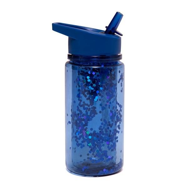 Trinkflasche mit blauem Glitter